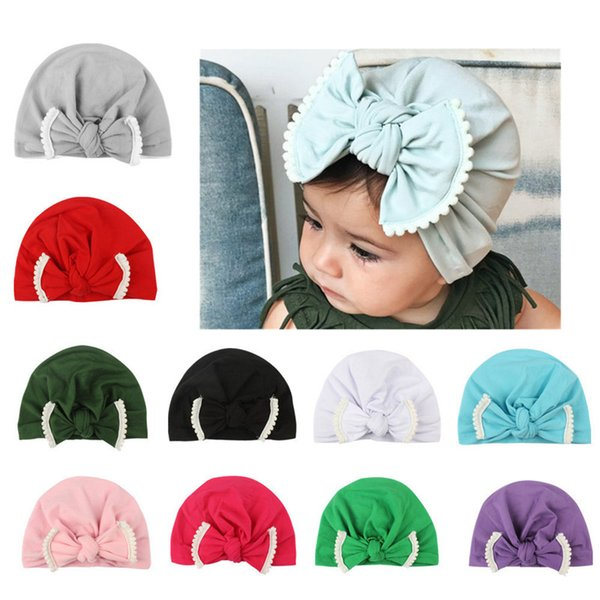 Baby Cute Lovely Soft Knot Bow Lace Tie Sleeve Cap Indian Flower Hat Baby Hats For Children TO974