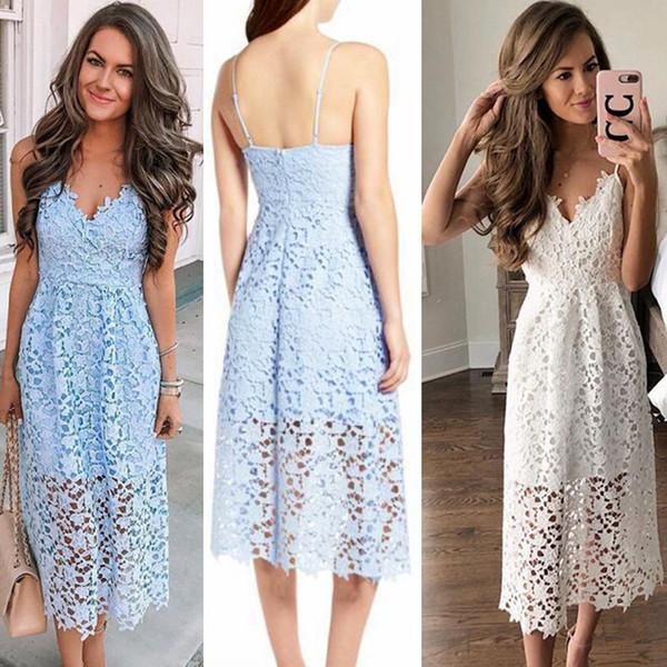 Strap Vintage White Lace Dress Women Overlay V Neck Summer Dress 2018 High Waist Sexy Backless Midi Dress Vestidos Summer Dress Maxi Grey Summer