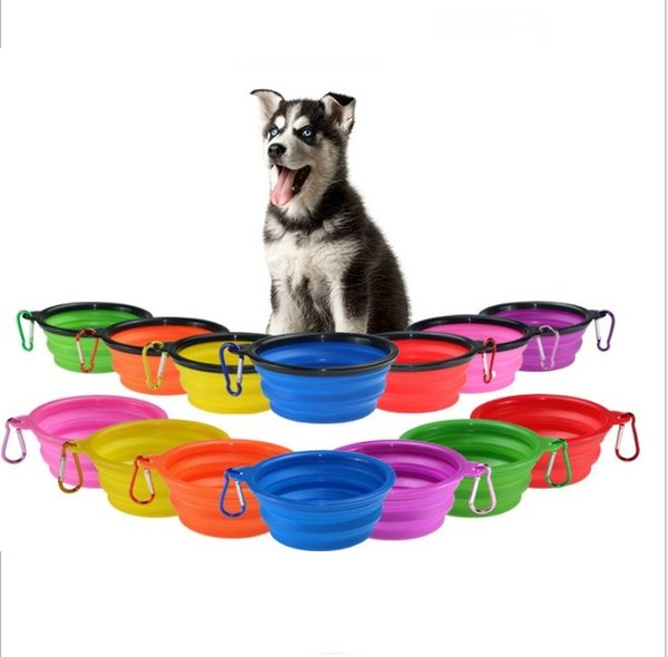 top popular 9 Colors Pet Silicone Folding Bowl with Climbing Clip Hook Collapsible Cats Water Dish Pet Portable Feeder Puppy Travel Bowls Whole 2021