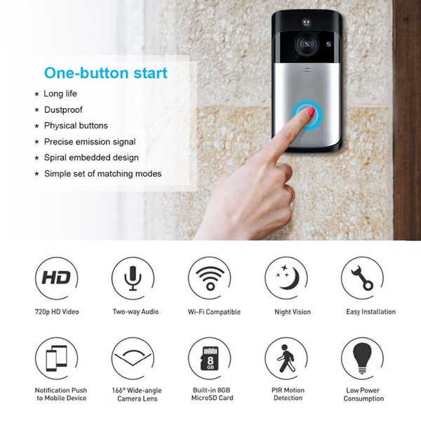 Smart WiFi Security DoorBell camera Visual Recording Low Power Consumption Remote Home Monitoring Night Vision Video Door Phone