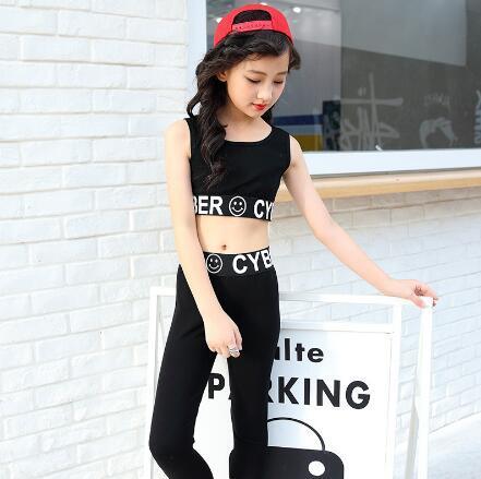 Niñas JAZZ Hip Hop Dance Competition Summer Kids Black Tops + Pants 2 piezas traje deportivo ropa adolescente desgaste de la danza