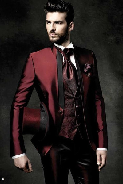 2017 High Quality One Button Dark Red Groom Tuxedos Groomsmen Mens Wedding Suits Prom Bridegroom (Jacket+Pants+Vest+Tie) S18101903
