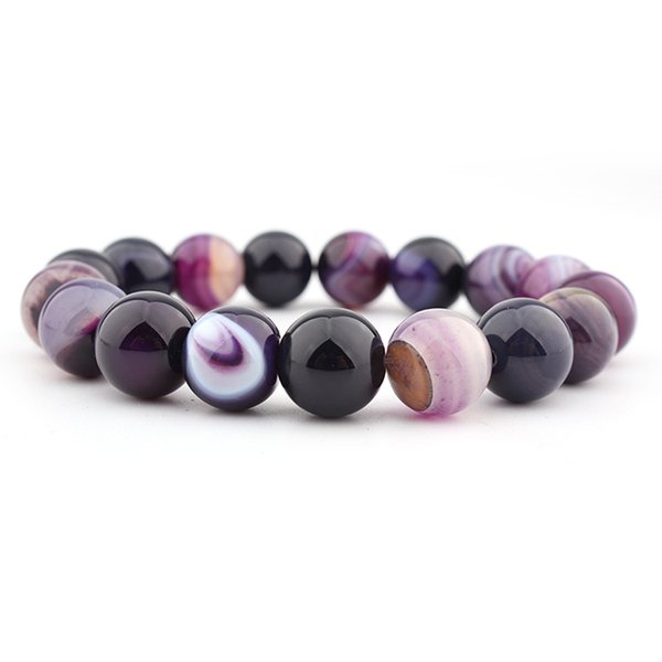 Hot Sale Natural Purple Crystal Bracelet Stretch Bangle 14mm Striped Dream Agate Ball DIY 7 Chakra Healing Bead Bracelet Jewelry Gift H541F