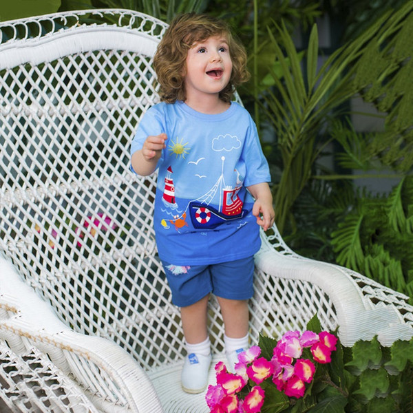 Boys Summer T Shirts Patterns Printed Fashion Baby Clothing 100% Cotton Tops for Kids Clothes Tees