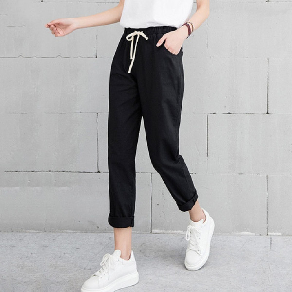 2018 Summer Autumn Women Casual Harajuku Long Ankle Length Trousers Plus Size Solid Elastic Waist Cotton Linen Pants Black Pant