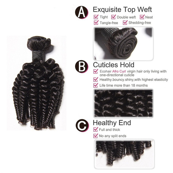 100% Human Hair Weaves Aunty Funmi Tight Kinky Curly Virgin Hair Extensions Funmi wave with natural Color