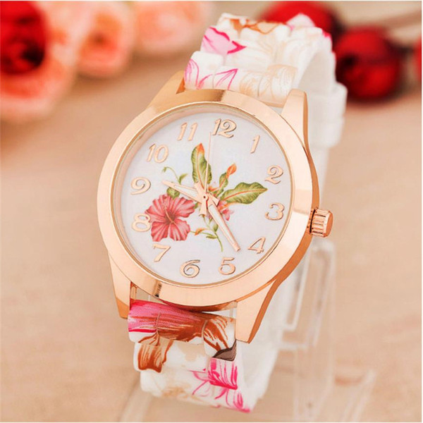 Women Watch Clock Bracelets Relojes Mujer 2018 Casual Silicone Printed Flower Quartz WristWatches Female Gift
