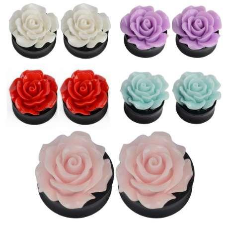 2 pcs Belle Rose Fleur Acrylique Oreille Plug Tunnel Shellhard Jauge Jauge D'oreille Jauges Expander Body Piercing Bijoux Pour Femmes Bijoux