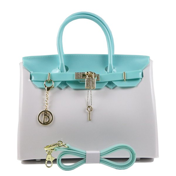 2018 New PVC Fashionable Women Bag High-end Diamond Drill Hardware Lock Cover Material Jelly Platinum Bag Lady Handbag