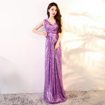 Simple Sequined Prom Dresses Deep V Neck with A Line Sleeveless Stain Formal Evening Gowns Party Dresses Custom Made Plus Size