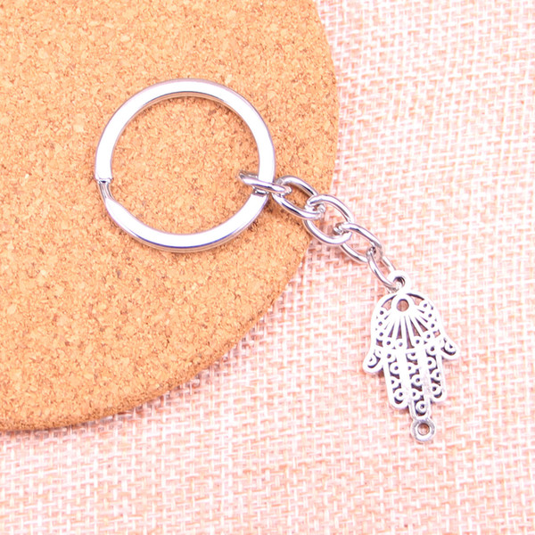 Fashion 28mm Key Ring Metal Key Chain Keychain Jewelry Antique Silver Plated hamsa hand protection connector 26*15mm Pendant