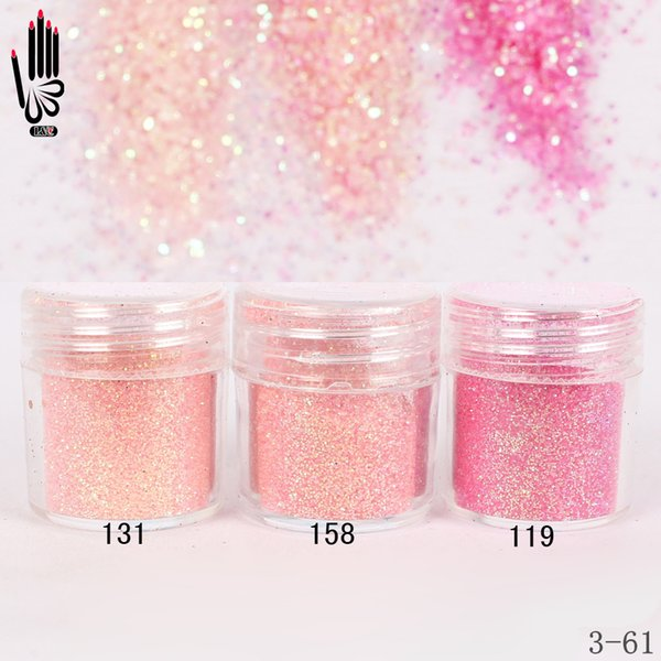 1 Jar/Box 10ml Nail Fashion 3 Light Pink Red Nail Glitter Fine Powder For Art Decoration Optional 300 Colors Factory 3-61