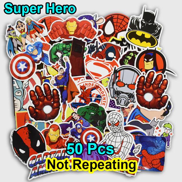 Großhandel 50 Stücke Super Hero Cartoon Aufkleber Für Laptop Lage Taschen Bike Telefon Auto Styling Coole Aufkleber Spielzeug Doodle Pvc Kreative