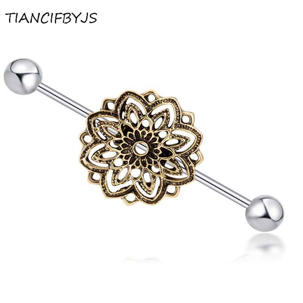 TIANCIFBYJS Stainless Steel 14g Flower Long Industrial Barbell Ear Bar Earring Pircing Fashion Ear Body Piercing Jewelry 20pcs