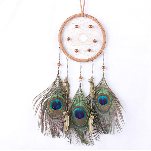 Peacock Dream Catcher Feather Car Accessories Large Dream Cathcer For Kids Room Vintage wind chime Dreamcatcher