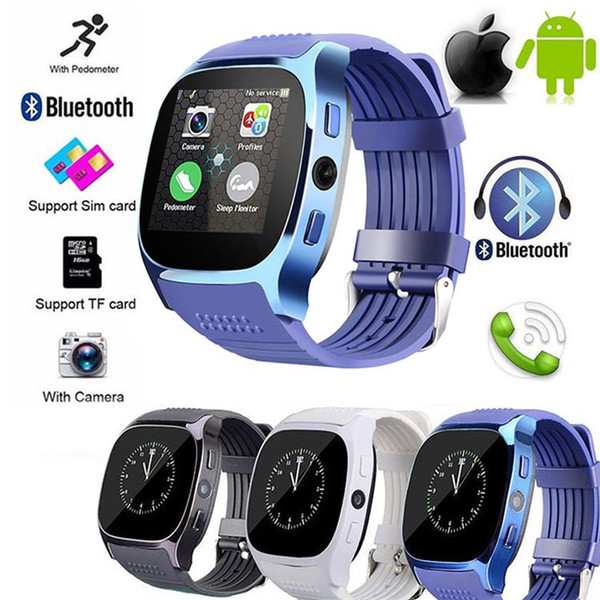 Android New T8 Bluetooth Smart Pedometer Watches Support SIM &TF Card With Camera Sync Call Message Men Women Smartwatch Watch