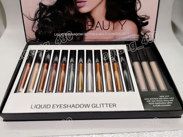 Beauty Liquid Eyeshadow Glitter & Multi-Concealer Kit 12 Colors Glitter with 3 Colors Concealer Perfect Quality DHL free shipping