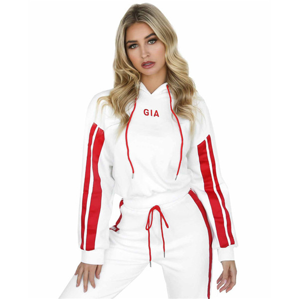 Autumn hot women's embroidery suit lace trousers casual hooded suit fit for sports running woman Sweatshirts Tracksuit