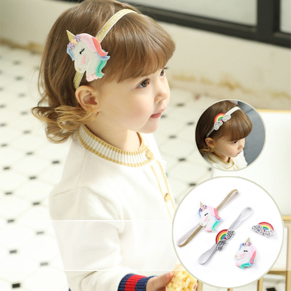 fashion baby girl headband Unicorn Rainbow Headband and barrettes hair accessories exquisite Bunny band Birthday Gift New
