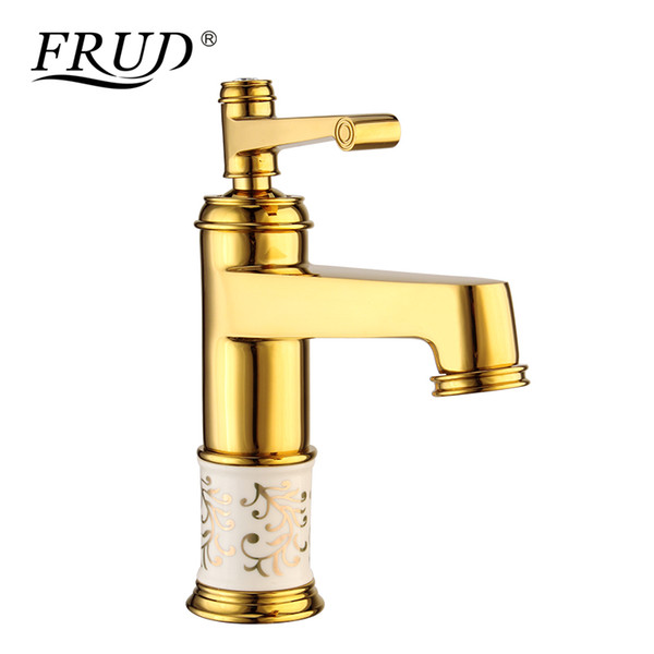 wholesale Gold Bathroom High Quality faucet Hot and Cold Water Kitchen Sink Tap Water Mixer Deck Mounted easy installation Y10086