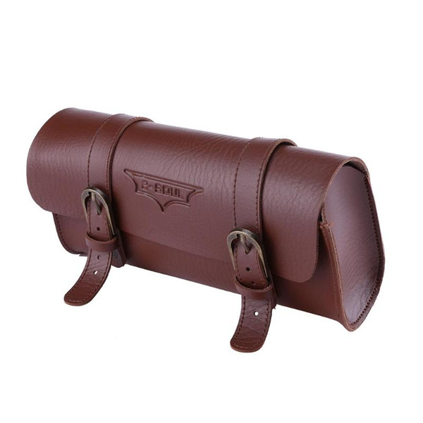 2 Colors Bicycle Tail Bag PU Leather Cycling Bag Saddle Pouch Tail Pannier Personalized Riding Vintage Bicycle Bike Bag 180g