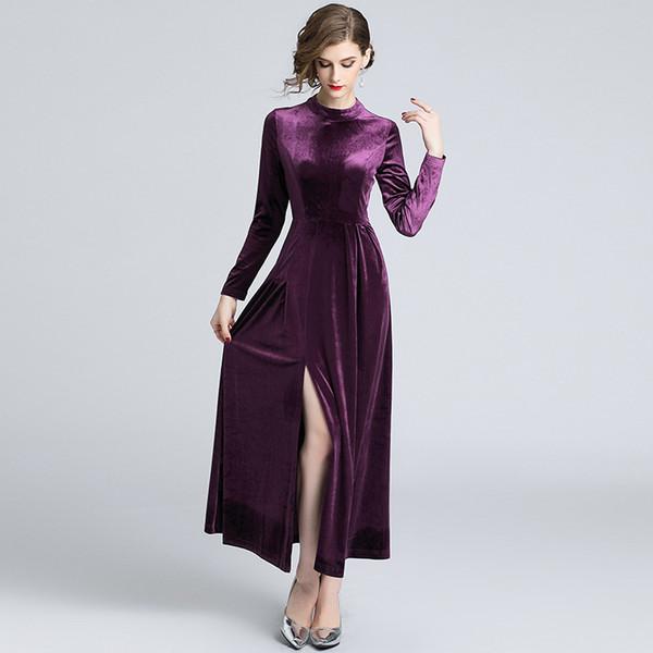 Vintage Split Evening Dresses Women Tunic Maxi Dress Stand Neck High Waist Slim Velour Autumn Winter Clothing