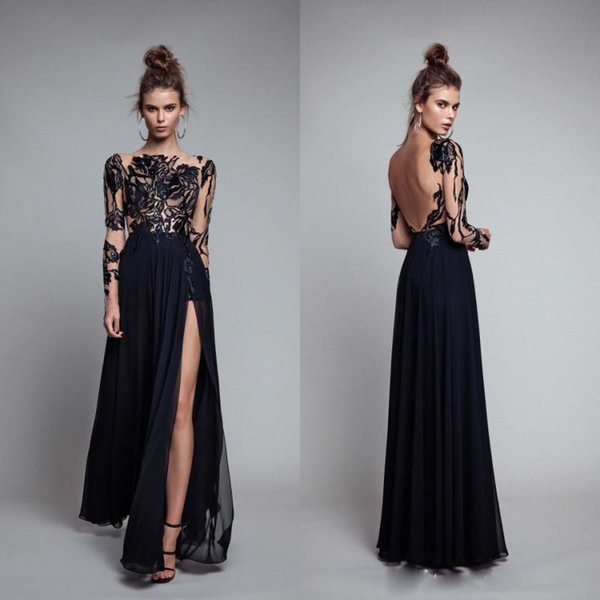 2018 Berta Long Black Prom Dresses A-Line Sheer Lace Long Sleeves Bateau Backless Chiffon Floor Length Side Split Evening Celebrity Gowns