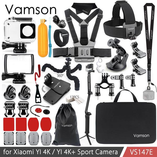 Al por mayor para Xiao YI 4K Kit de accesorios Set 3-Way Monopie Head Cheat Strap Bag Adaptador de montaje para YI 4K + para YI Lite Cámara VS147