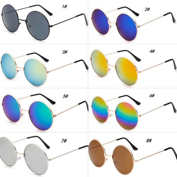 Fashion Metal Round Sunglasses Cool Men Round Frame Sun Glasses With Mirror Lenses 9 Colors Children Sun Glasses Cheap Wholesale