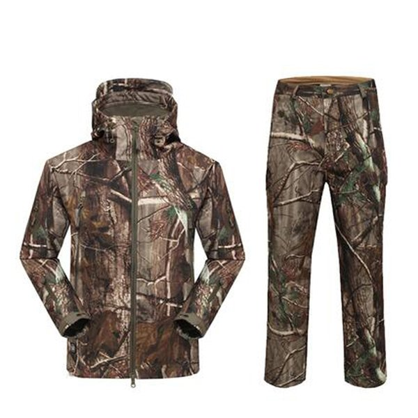 TAD Softshell Sharkskin Suits Men Outdoor Waterproof Hunting Clothes Fleece Lining Jacket Military Camping Gear Y1893006