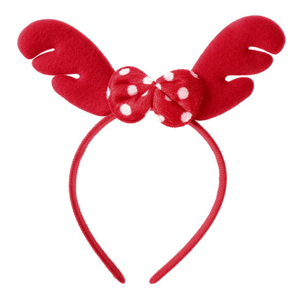 Christmas Headband Reindeer Antler Hair Hoop Headpiece Bowknot Decor for Christmas Costume Party (Red)