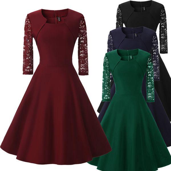 Compre Vestido De Fiesta De Graduación De Encaje De La Vendimia 50 Años 60 Mujeres Vestido De Fiesta De Graduación De Coctel De La Oscilación