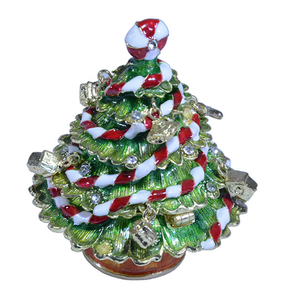 Crystal Bejeweled Enamel Christmas Tree Trinket Jewelry Box Christmas Decoration Presents Gifts Dropshipping