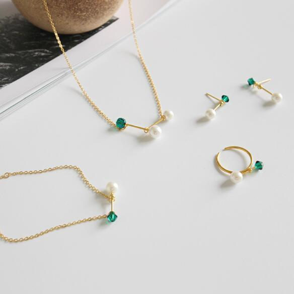18k gold plating pearl jewelry sets 925 sterling silver collor necklace adjustable ring simple style earrings charm bracelet from china fact