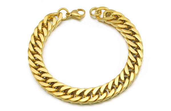 """top popular Gold Plated Stainless Steel Bracelets Curb Cuban Chain Mens Jewellery Fashion, 8.7"""" long,10mm wide,Wholesale Free Shipping,WB003 2021"""