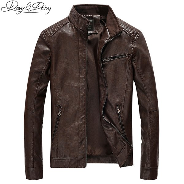 DAVYDAISY 2018 New Arrival PU Leather Jacket Men Autumn Stand Collar Zipper Fashion Men Coat Casual Dress Leather Jacket DCT-244