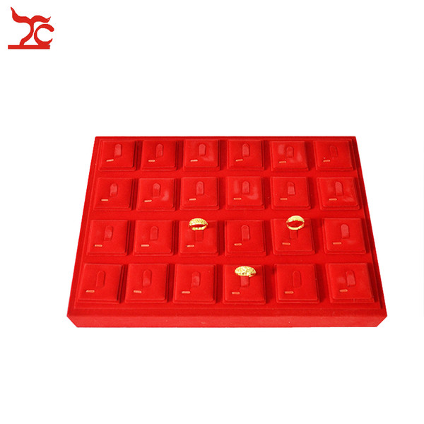 High Quality Red Velvet Jewelry Display Case 24pcs Portable Ring Holder Sheet Ring Organizer Storage Exhibition Tray 35*25*5cm