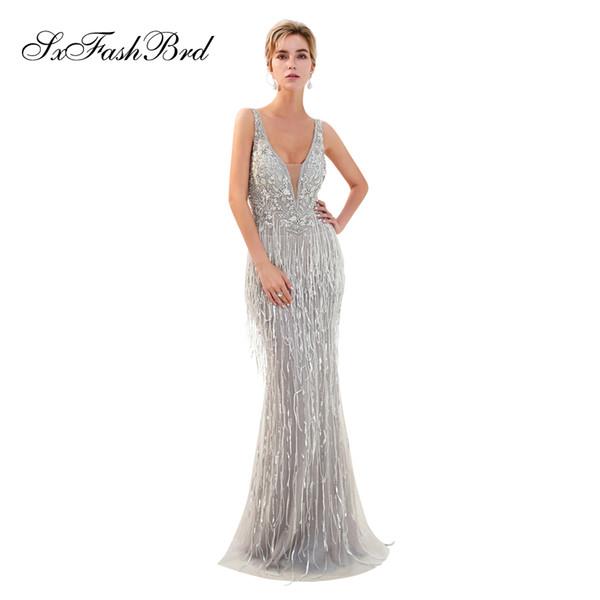 Fashion Elegant V Neck Mermaid Heavy Beading Tulle Long Party Formal Evening Dresses Women Night Maxi Prom Dress Gowns