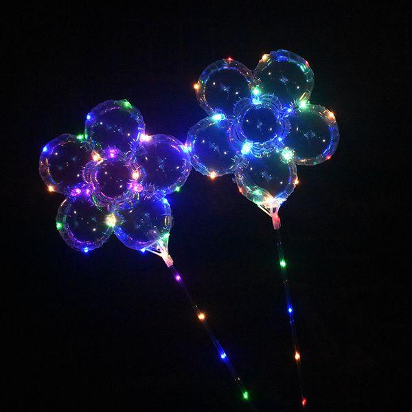 "LED Flash Light Plum Blossom Balloon Luminous 18"" BoBo Balloons with Handle Stick 3M String Ball Flashing Toys Wedding Party Decoration"