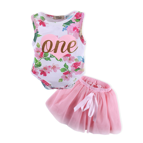 0-18M Baby Girls Romper&Skirt one Heart Printing Two-piece Clothing Sets Floral Jumpsuit Bow TUTU Skirt Outfits