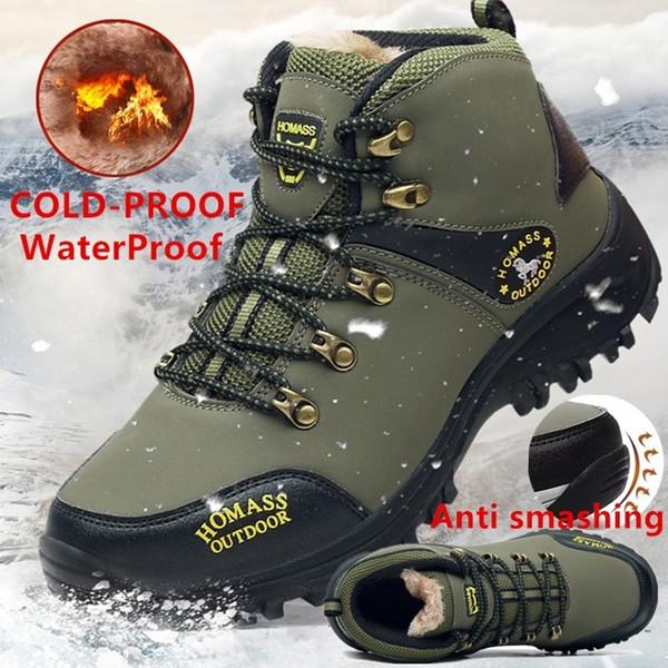 2018Winter Men High Quality Mountain Climbing Boot with Thermal Protection and Cold-proof Functions Safety Work Shoes Snow Boots Waterproof