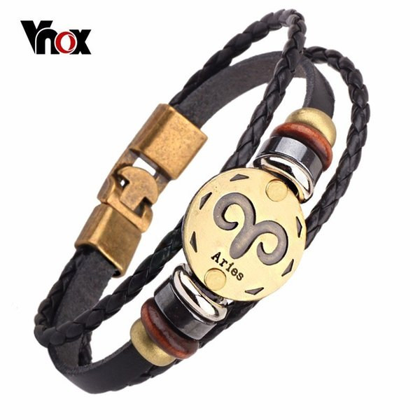 acb058f92e144 Vnox 12 Horoscope Leather Bracelet Men Jewelry Vintage Retro Charm Bracelet  Male Jewelry 8.2 Birthstone Charm Bracelet Charm Bracelet Beads From ...