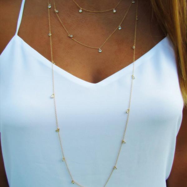 Delicate Strass Quaste Halsketten Anhänger 2018 Einfache Gold Silber Farbe Lange Halskette Modeschmuck Colar Feminino