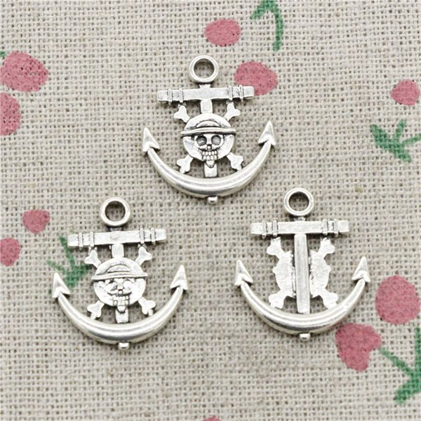 100pcs Charms anchor pirate skull 22*19mm Tibetan Silver Vintage Pendants For Jewelry Making DIY Bracelet Necklace