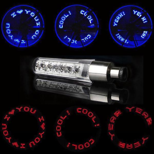 2018 High Quality Bicycle LED Bike Wheel Tire Spoke Decorate Light MTB Valve Flash Letter Neon Lamp #277535