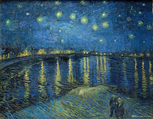 Free Shipping Vincent Van Gogh Starry Night Over The Rhone Painting Art Posters Prints Wall Paper Home Decor 16 24 36 47 inches