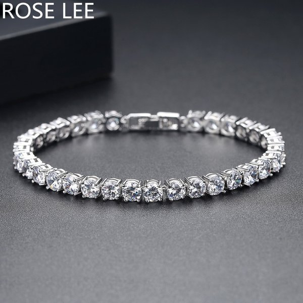 ROSE LEE Statement Cubic Zirconia White Gold Color Link Chain Bracelets For Women Charm Luxury Bride Wedding Bijoux Jewelry