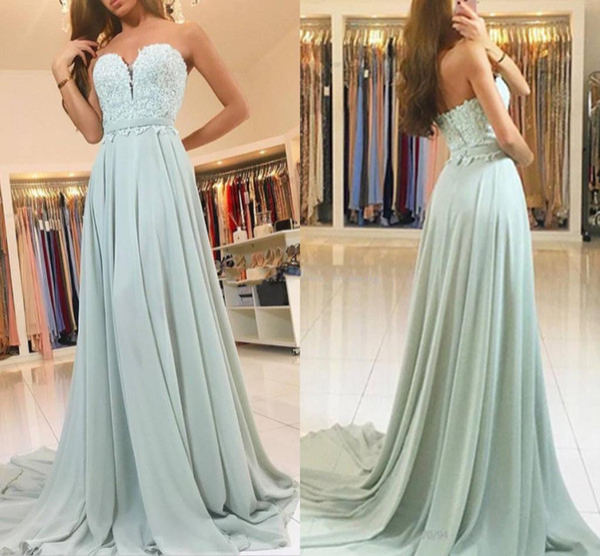 Sage Mint Chiffon Lace Prom Dresses Sweetheart Ribbon Sash Custom Backless Evening Dresses Long Party Dresses Sweep Train Free Shipping