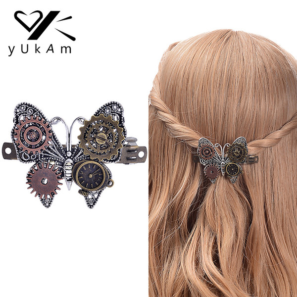YUKAM Steampunk Hair Accessories Vintage Handmade Metal Hair Clips Hairgrips Barrettes Gear Butterfly Clock Decoration for Women S919