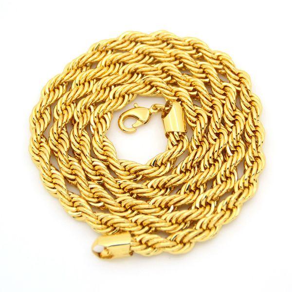 Collana in oro 18k con catena placcata in oro placcato oro reale per uomo
